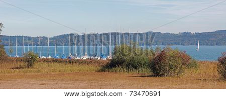Harbor With Moored Sailboats, Starnberg Lake, Germany