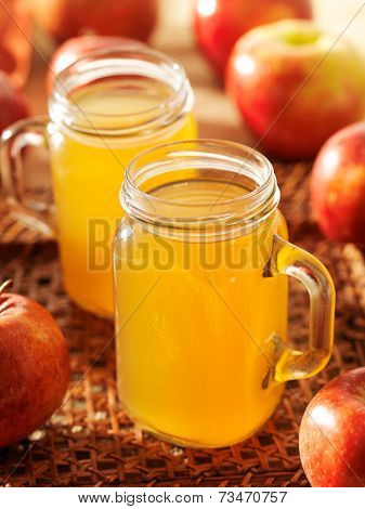 hot apple cider in mason jars