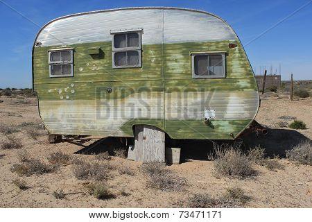 Vintage Travel Trailer in Desert