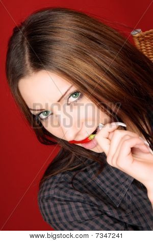 Young Woman With Red Chilli Pepper