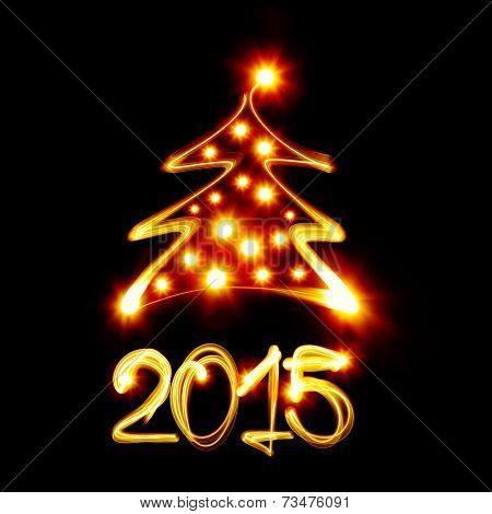 Christmas tree and 2015 created by light