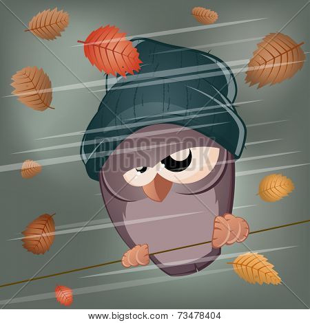 funny cartoon bird in stormy weather