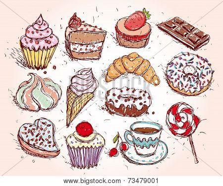 Hand Drawn Confectionery Set Croissant Cupcake Candy Marshmallow Ice Cream Cake Donut And Coffee. Ve