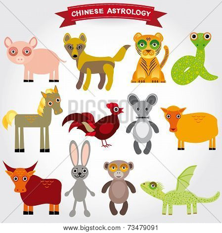 Chinese Astrology Set Of Funny Animals On A White Background.