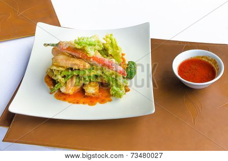 Pan Fried Vegetables Isolated On White Background