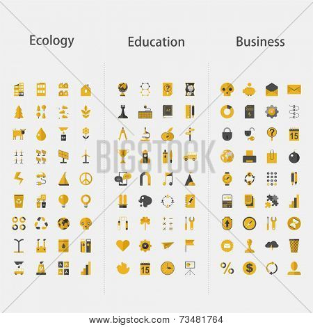 Big set of icons - ecology, education & business