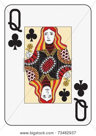 Jumbo index queen of clubs playing card