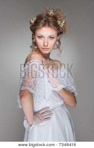 Beautiful Model In White Dress
