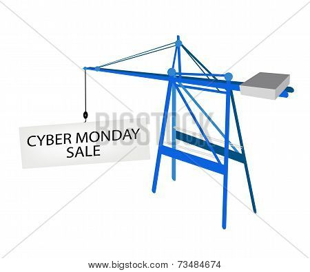 Blue Mobile Crane with Cyber Monday Billboard