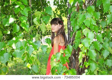 Girl in a red dress of birch leaves