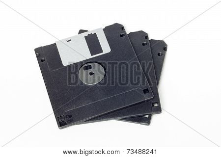 Stack Of Black Diskettes Isolated On White Background