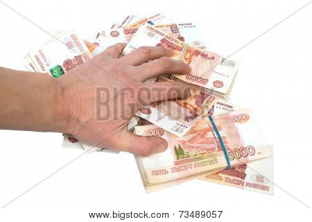 human hand on banknotes