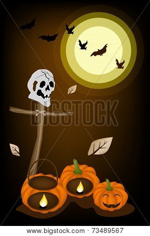 Jack-o-Lantern Pumpkins with Wooden Cross on Night Background