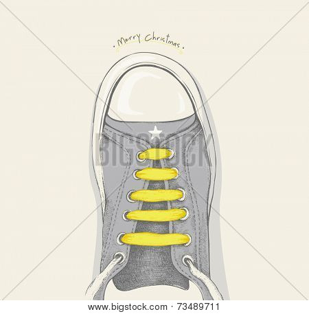 Time for Christmas. Yellow shoelace