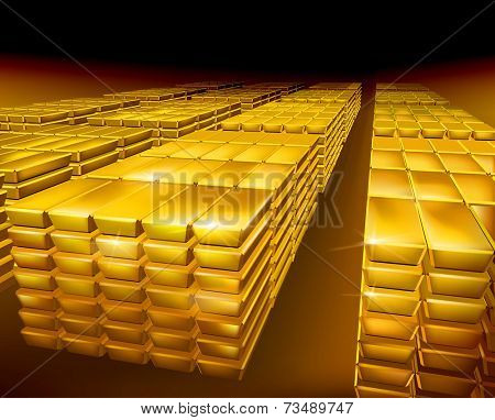 Stack of gold. Vector illustration.