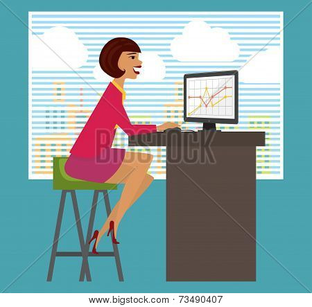 Workplace, office desk. Business woman working at computer.