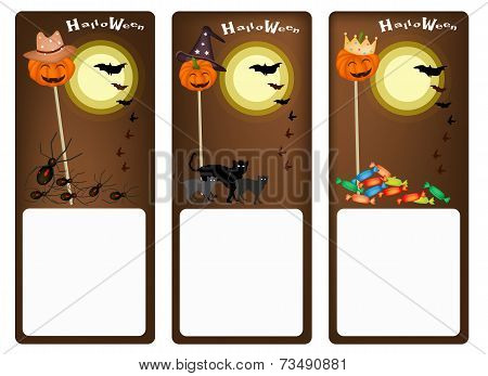 Set of Three Banners of Halloween Night