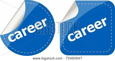 Career Word Stickers Set, Web Icon Button