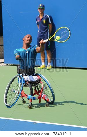 Tennis player Lucas Sithole from South Africa during US Open 2014 wheelchair quad singles match