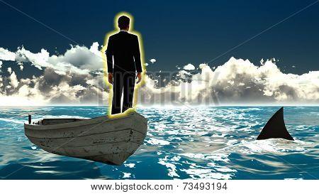 Businessman on boat & shark - illustration