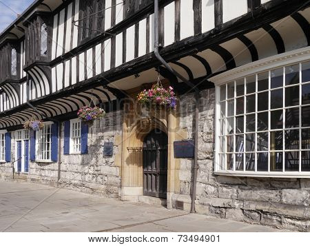 Closeup view of tudor building in York, North Yorkshire, England, UK.