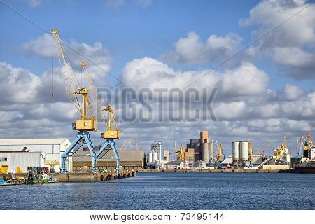 Cranes In The Port Of Brest, France