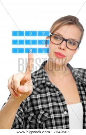 Blonde Student Girl Touching Number 2 On A Keypad