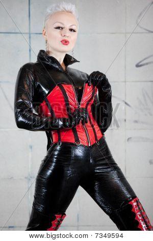Girl In Fetish Suit.