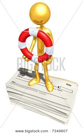 Gold Guy With Life ring On Blank Checks