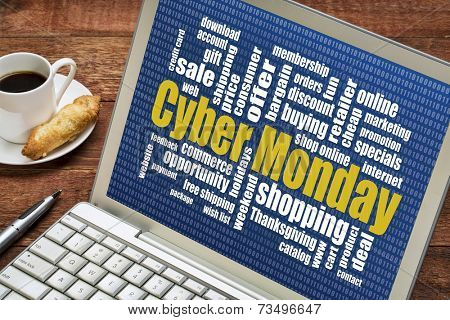 Cyber Monday word cloud  on a laptop with a cup of coffee - a holiday online shopping concept
