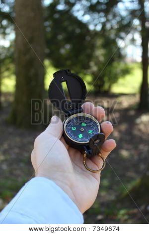 Businessman Holding A Compass Vertical