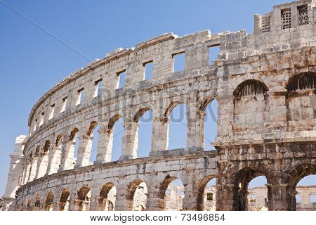 Ancient Roman Amphitheater In Pula. Croatia