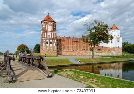 Belarus. Road Through The Bridge To The Mir Castle