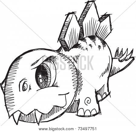 Stegosaurus Dinosaur Sketch Vector Illustration Art