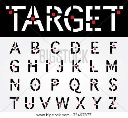 original vector font with target and red square
