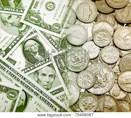 American banknotes and coins