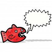 stock photo of piranha  - cartoon piranha with speech bubble - JPG