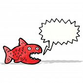 image of piranha  - cartoon piranha with speech bubble - JPG
