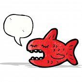 picture of piranha  - cartoon piranha with speech bubble - JPG