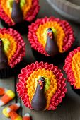 stock photo of thanksgiving  - Thanksgiving cupcakes - JPG