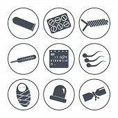 picture of contraception  - Set of icons on a theme contraception - JPG