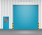 image of roller shutter door  - Illustration of shutter door and steel door outside factory blue color - JPG