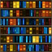 stock photo of book-shelf  - Seamless Book Shelf Texture as a Background - JPG