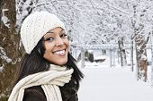 Happy Woman Outside In Winter