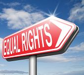stock photo of equality  - equal rights no discrimination and same opportunities for all women man equality road sign - JPG