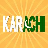 image of pakistani flag  - Karachi flag text with sunburst illustration - JPG