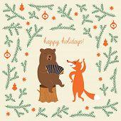 foto of accordion  - Greeting Christmas card - JPG