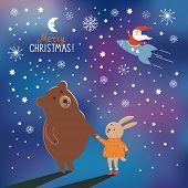 image of rabbit year  - Greeting Christmas card - JPG
