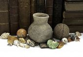 picture of cultural artifacts  - A row of books with a grouping of ancient and natural artifacts - JPG