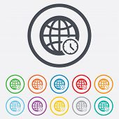 stock photo of universal sign  - World time sign icon - JPG